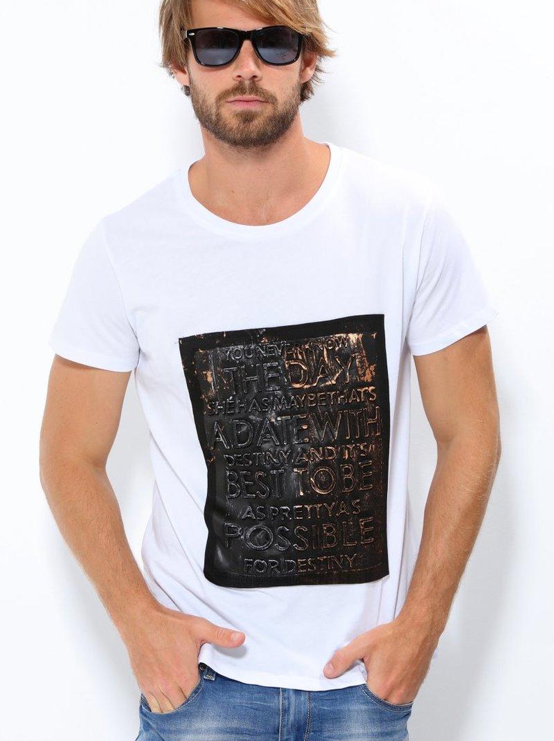 Camiseta hombre manga corta estampado frontal