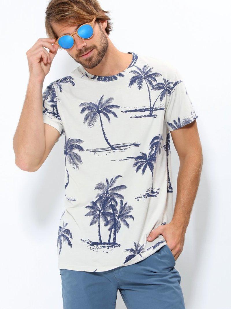 Camiseta hombre con estampado palmeras