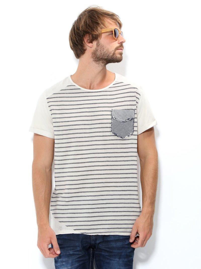 Camiseta de hombre delantero de rayas y bolsillo