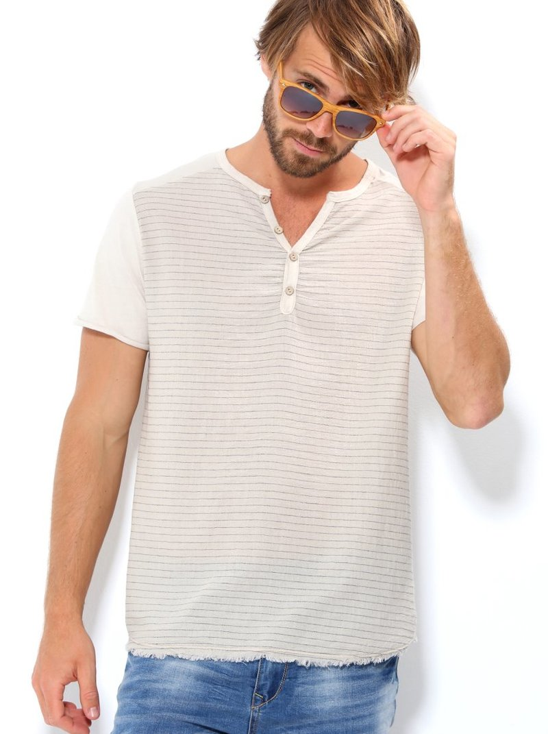 Camiseta hombre manga corta con rayas tejido bambula