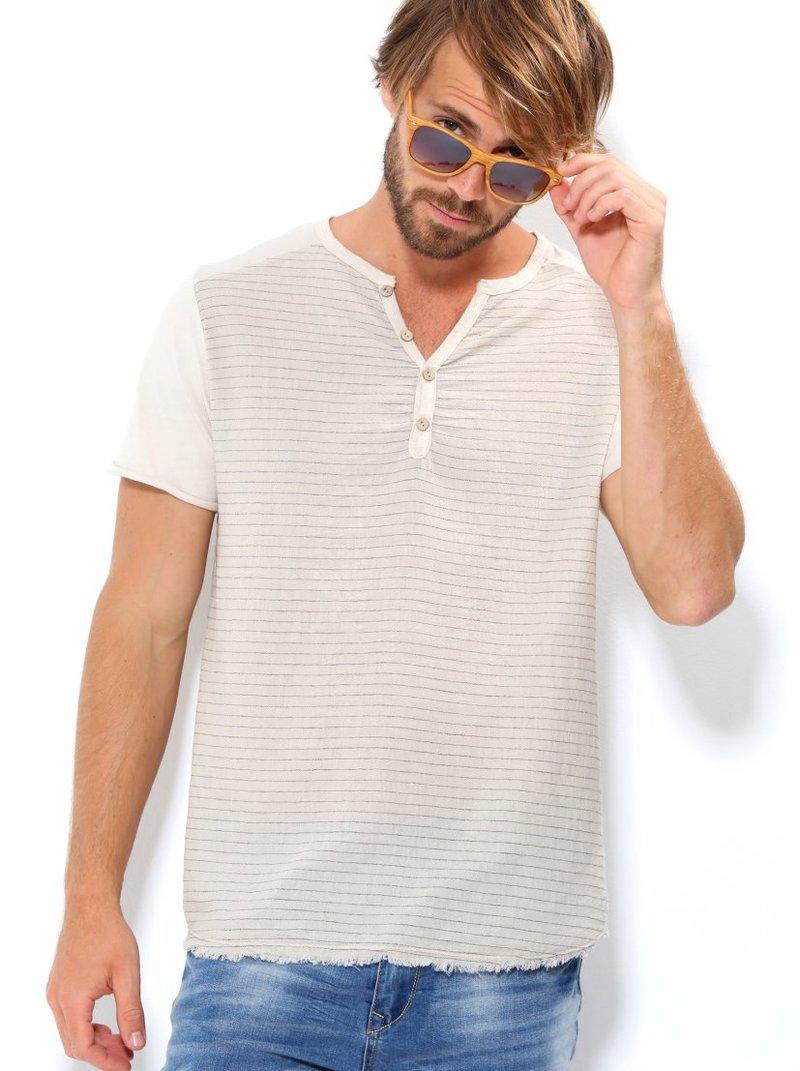 Camiseta hombre manga corta con rayas tejido bambula - Beige