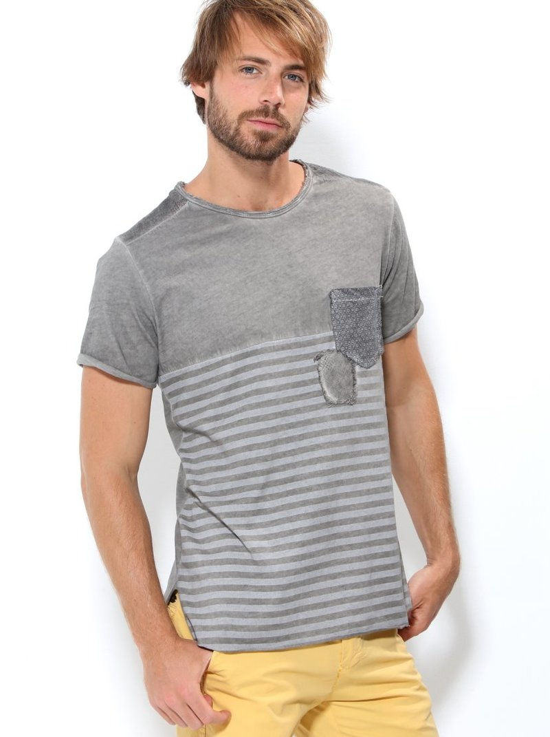Camiseta manga corta de hombre rayas y lisa