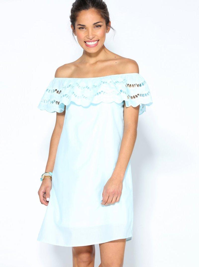 Vestido escote elástico guipur