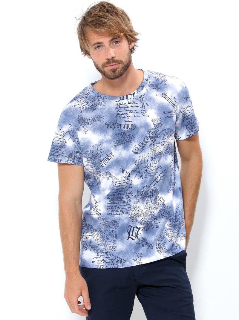 Camiseta hombre manga corta efecto manchas