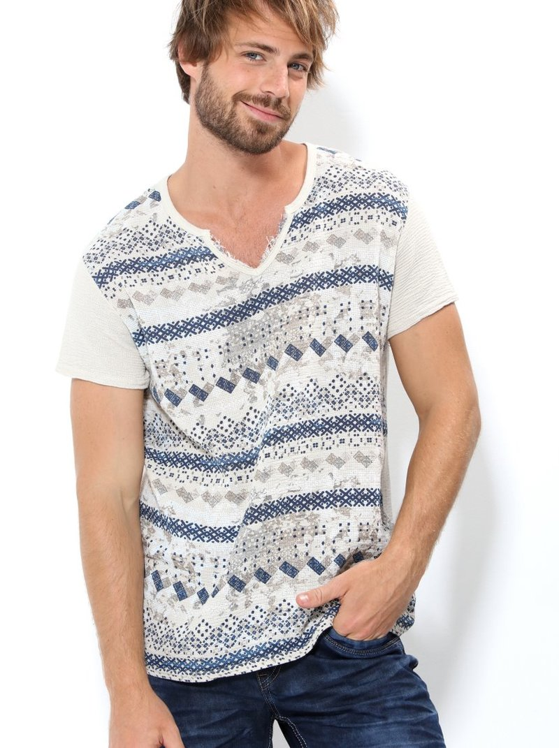 Camiseta  hombre tejido muselina estampado
