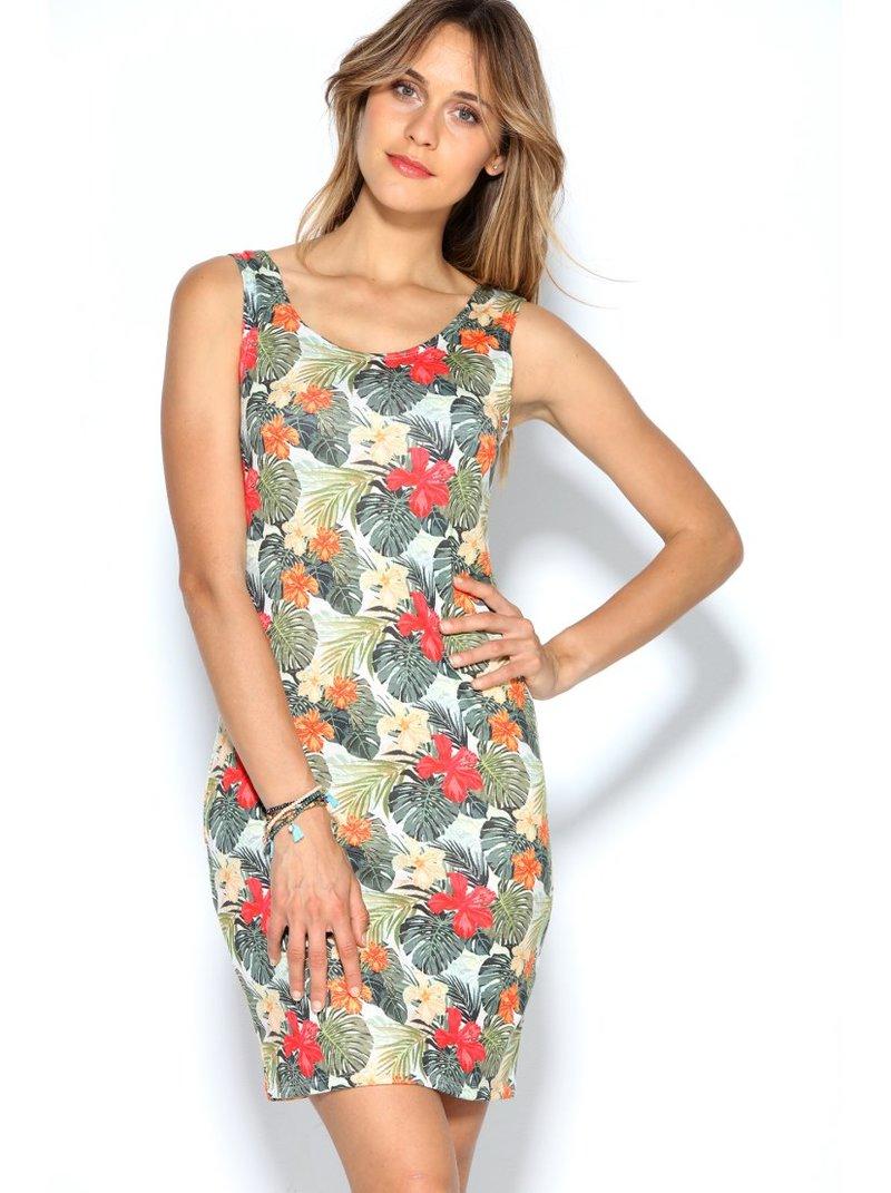 Vestido punto elástico floral escote redondeado