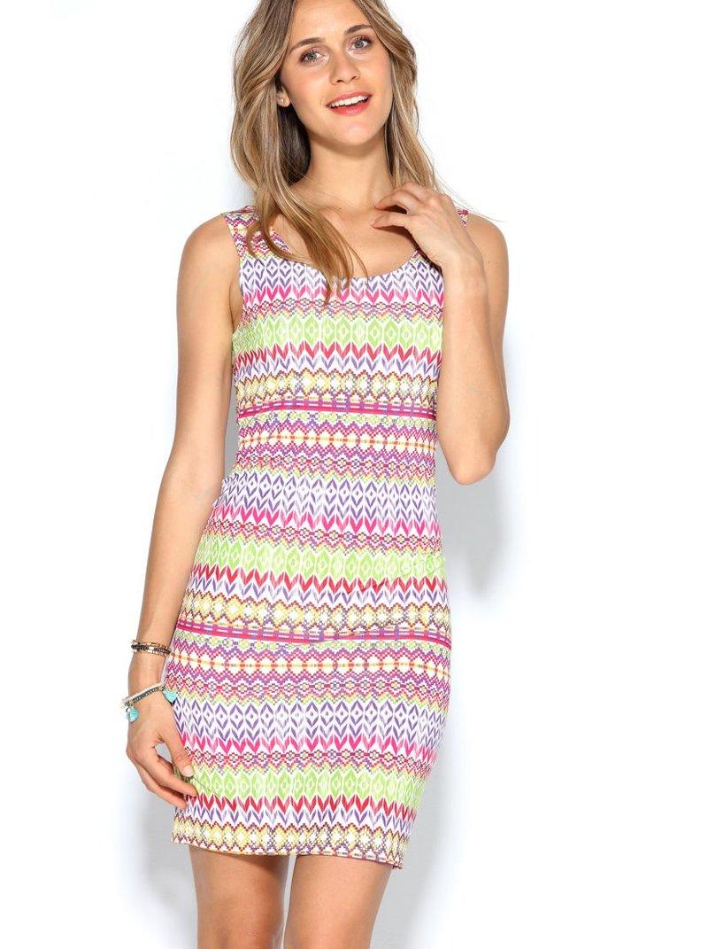 Vestido punto elástico estampado geométrico multicolor