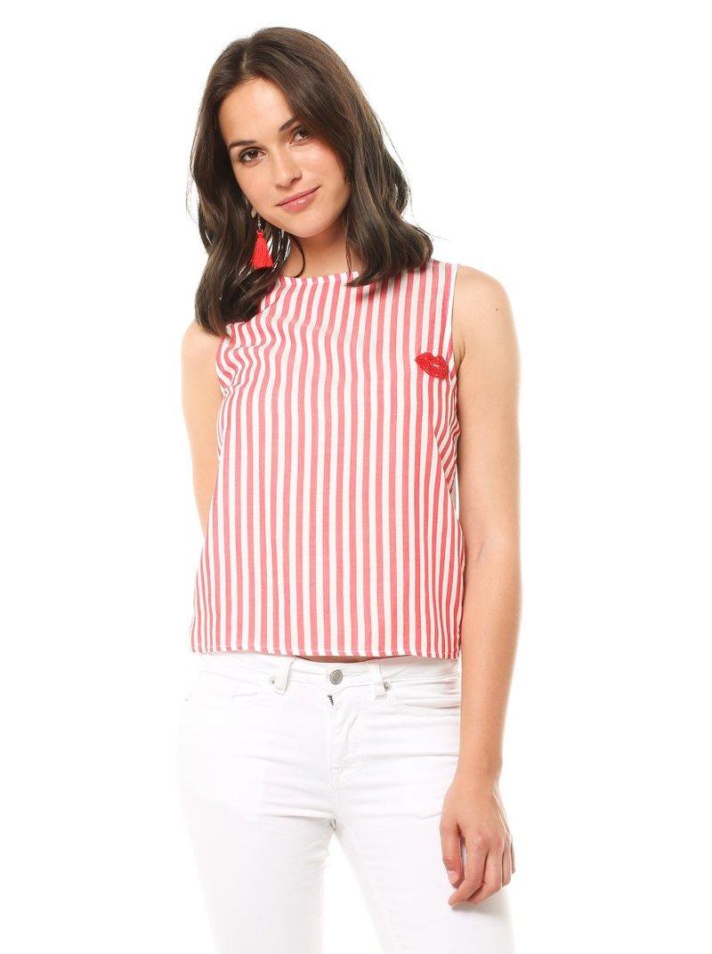 Blusa sin mangas combinada tejido rayas y punto liso