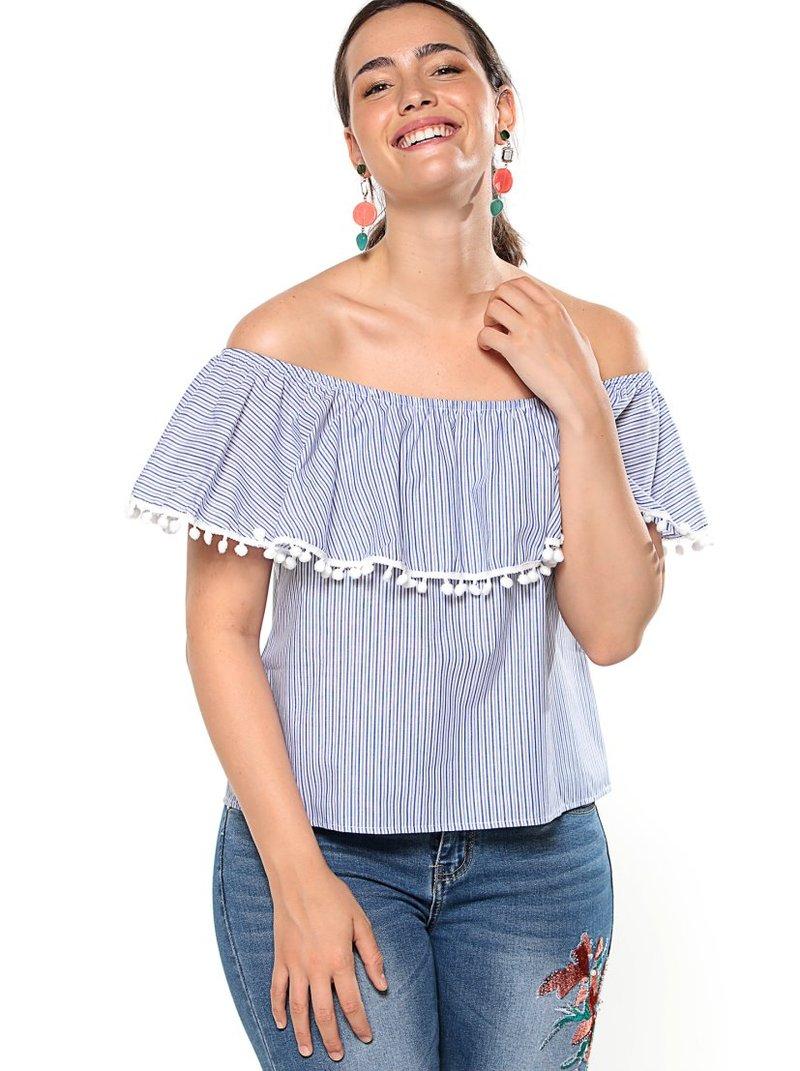 Blusa mujer rayas escote elástico