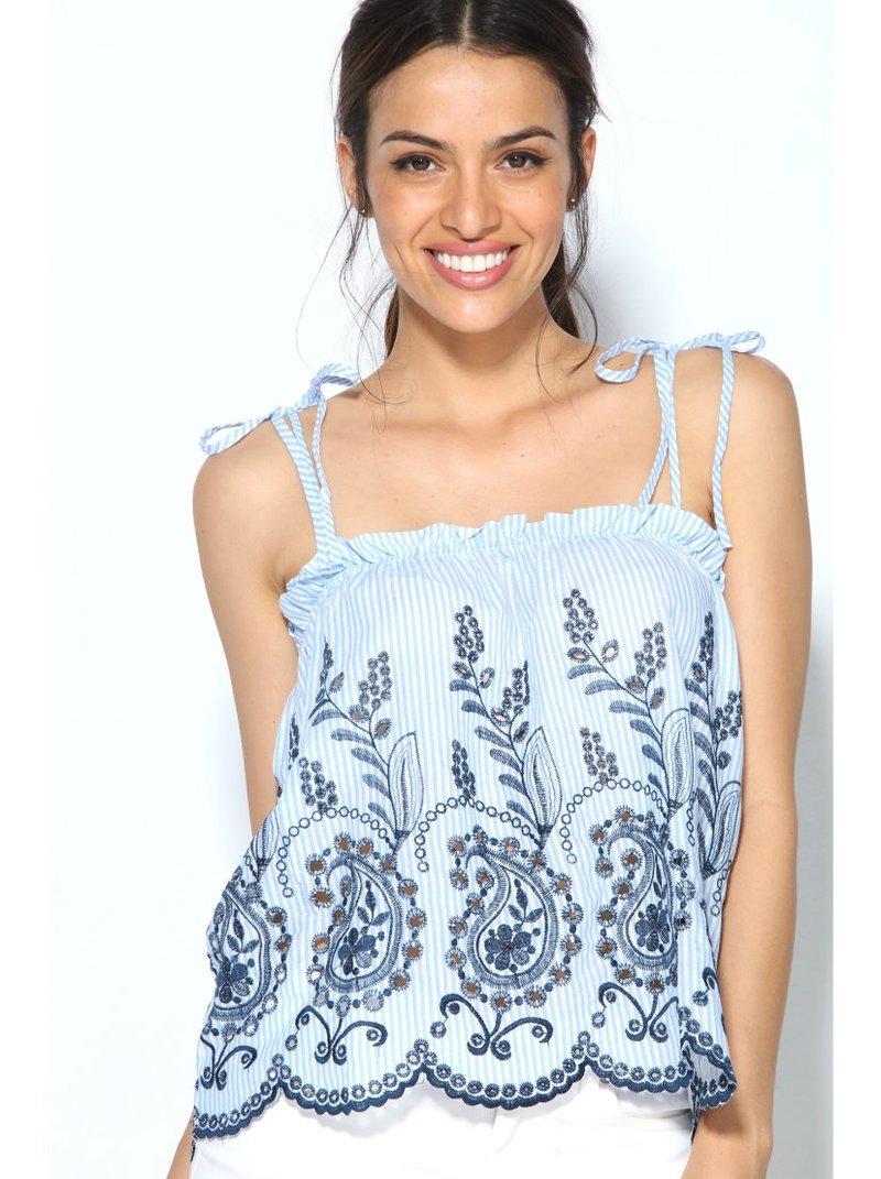 Blusa top rayas azules tirantes de lazada bordado