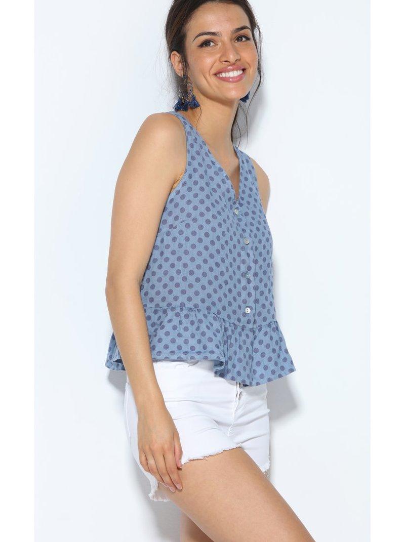Blusa sin mangas lino estampado topos escote V