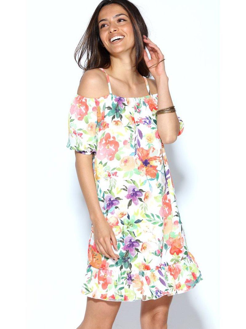 Vestido flores manga corta y hombro al descubierto