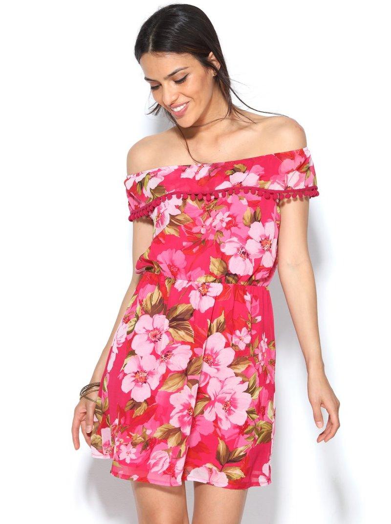 Vestido estampado flores escote redondo elástico