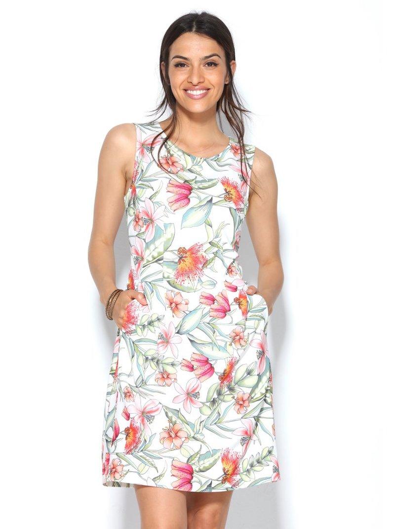 Vestido sin mangas escote redondo en crepe estampado flores