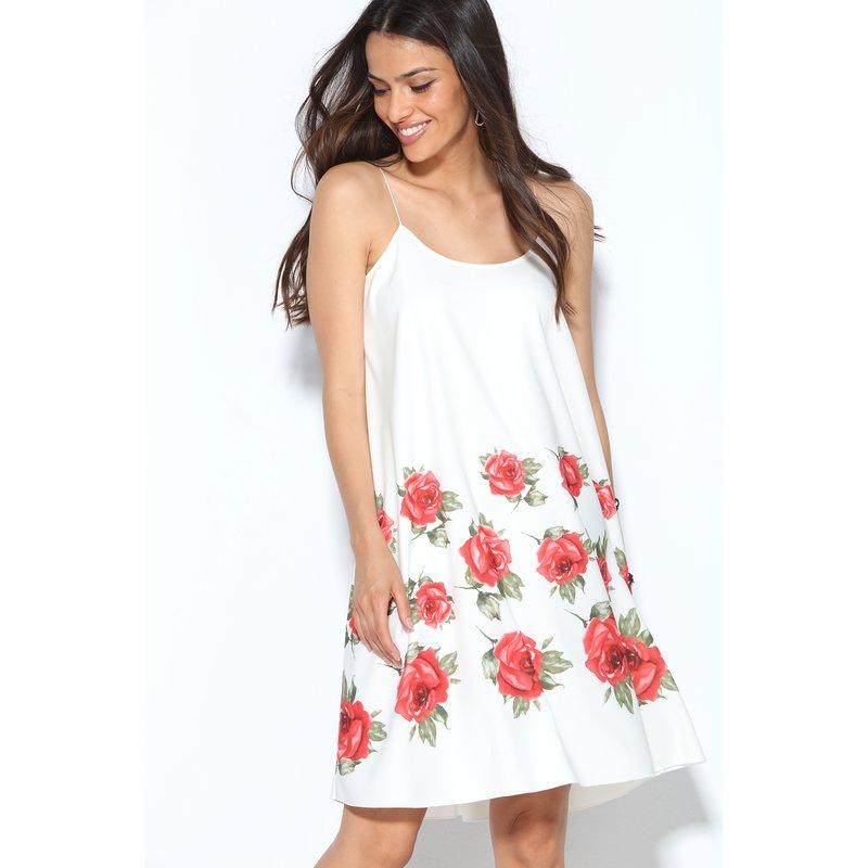 Vestido de crepe tirantes espagueti print rosas