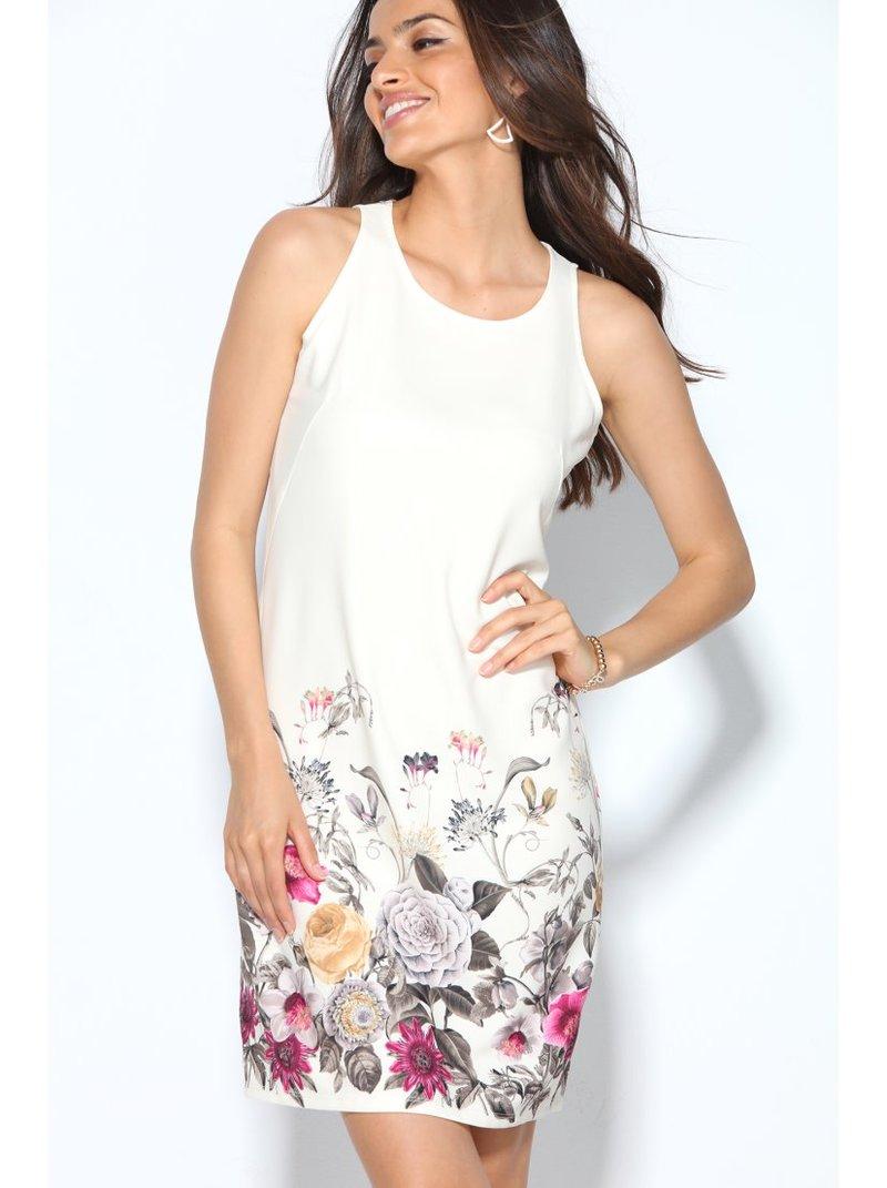 Vestido de crepe sin mangas estampado floral