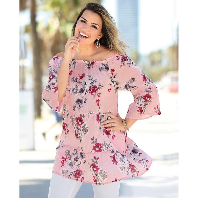Blusa estampada con flores de paneles fruncidos