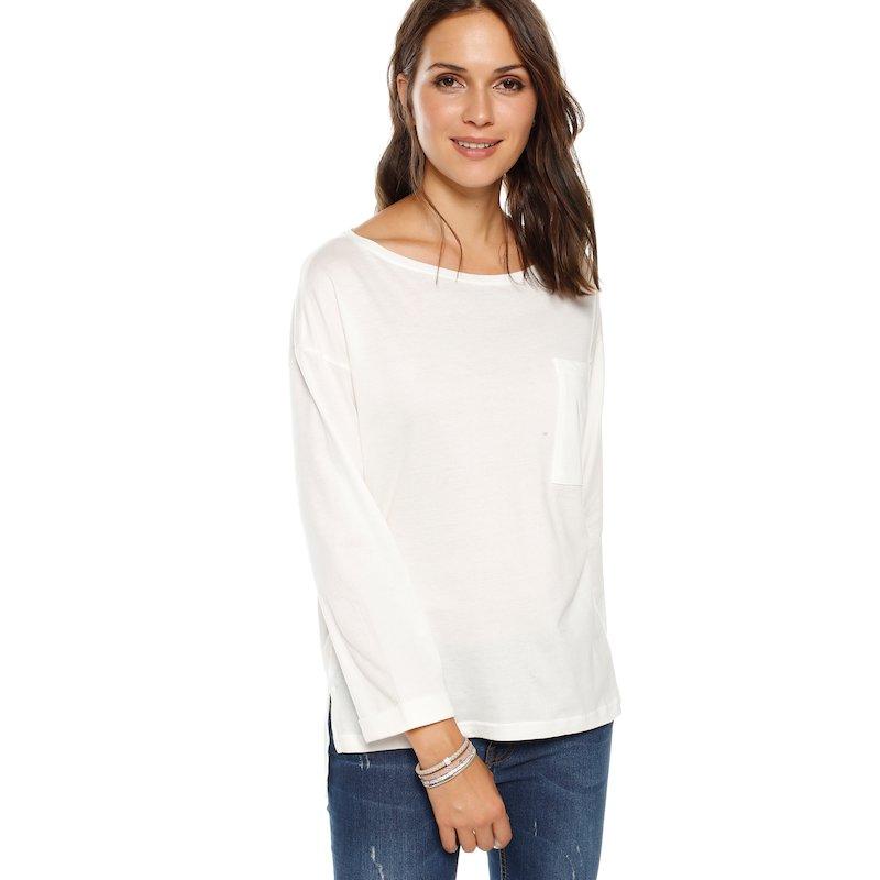 Camiseta de manga larga con vuelta y bolsillo