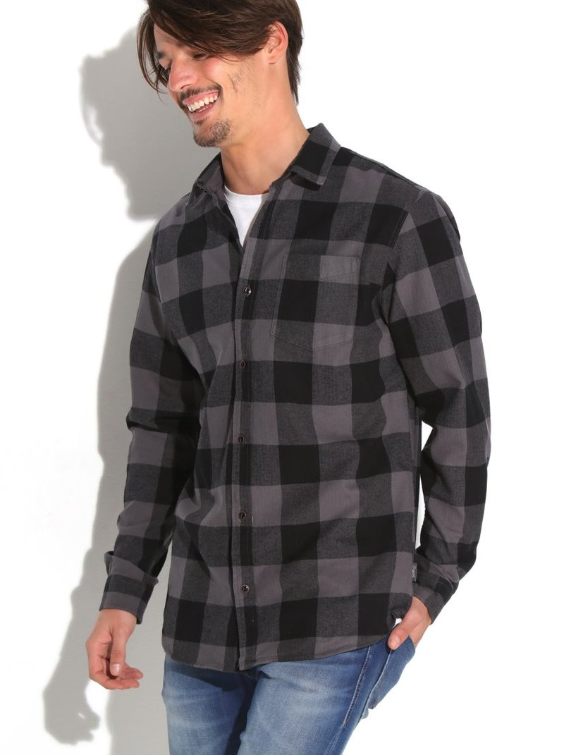 Camisa manga larga hombre cuadros espiga