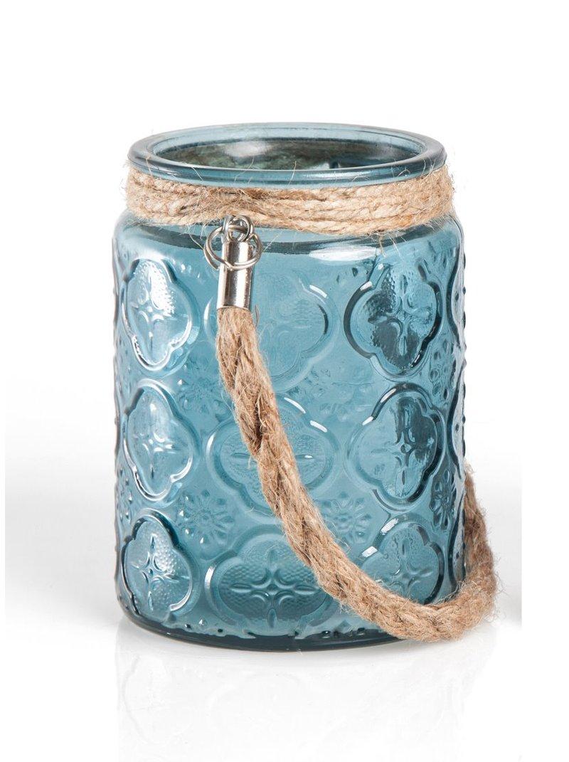 Porta velas de cristal con grabados decorativos