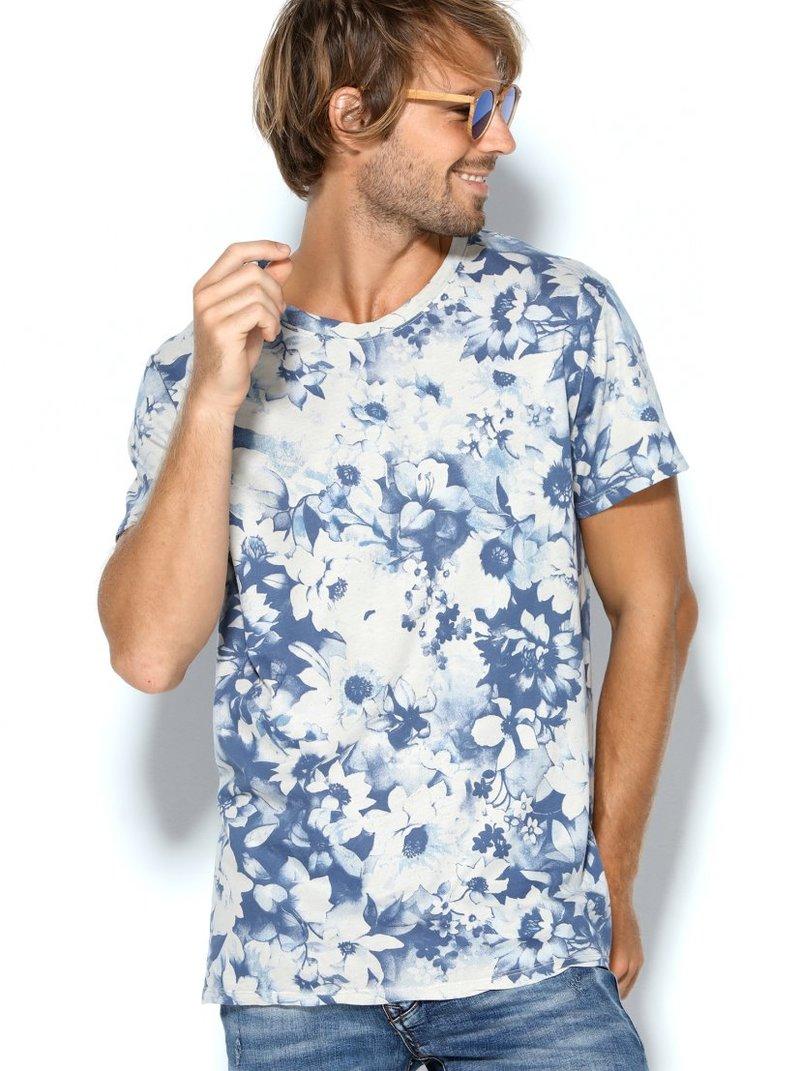 Camiseta hombre punto liso con estampado flores