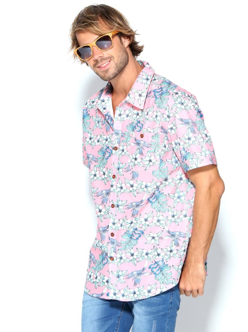 Camisa hombre flores con bolsillo plastrón