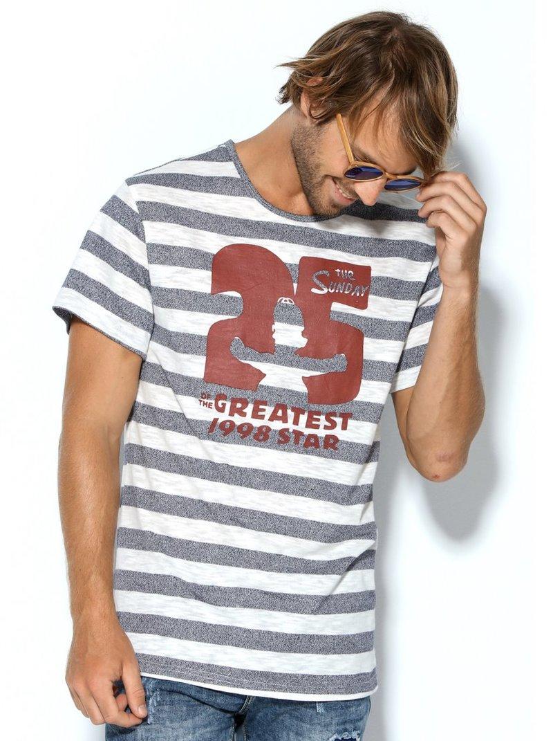 Camiseta de hombre manga corta rayas con estampado