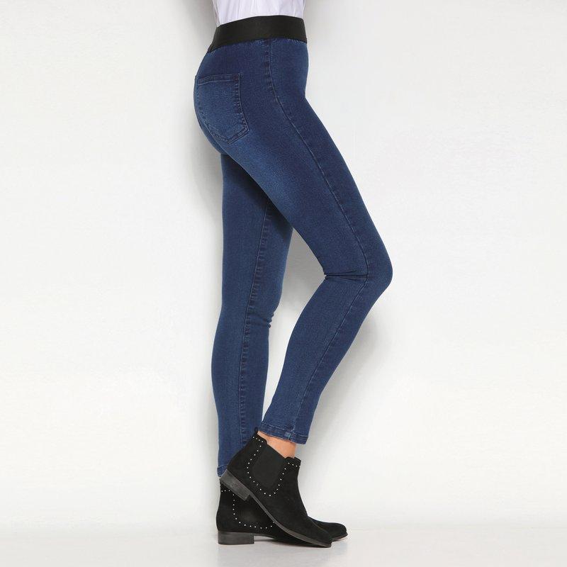 Pantalón jegging y cintura elástica a contraste