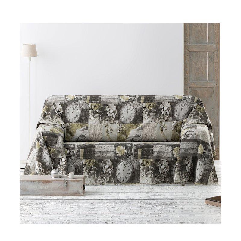 Fular cubre sofá estampado con diseño patchwork