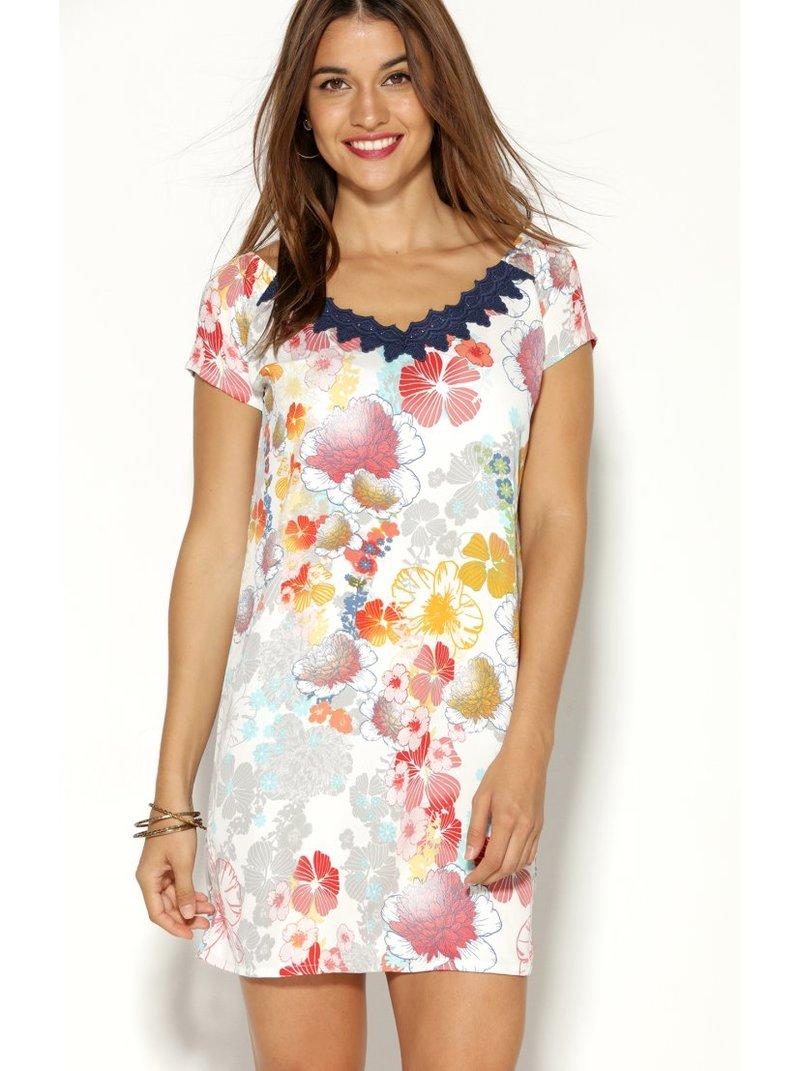 Vestido corto de mujer floral y escote de guipur en V