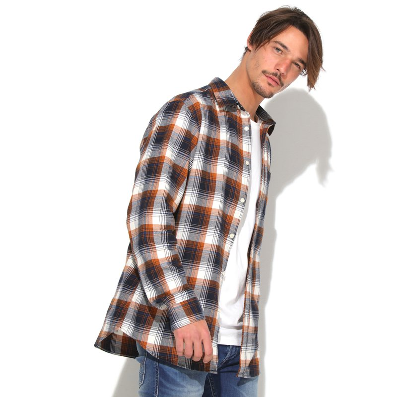 SELECTED - Camisa hombre franela cuadros slim fit