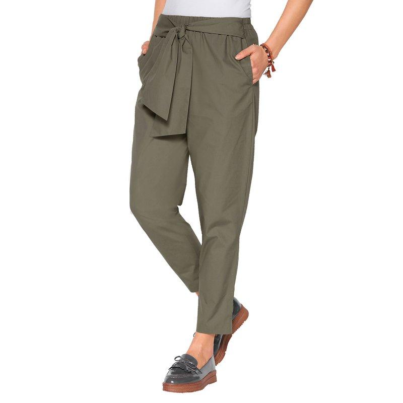 Pantalón cintura elástica con bandas para anudar