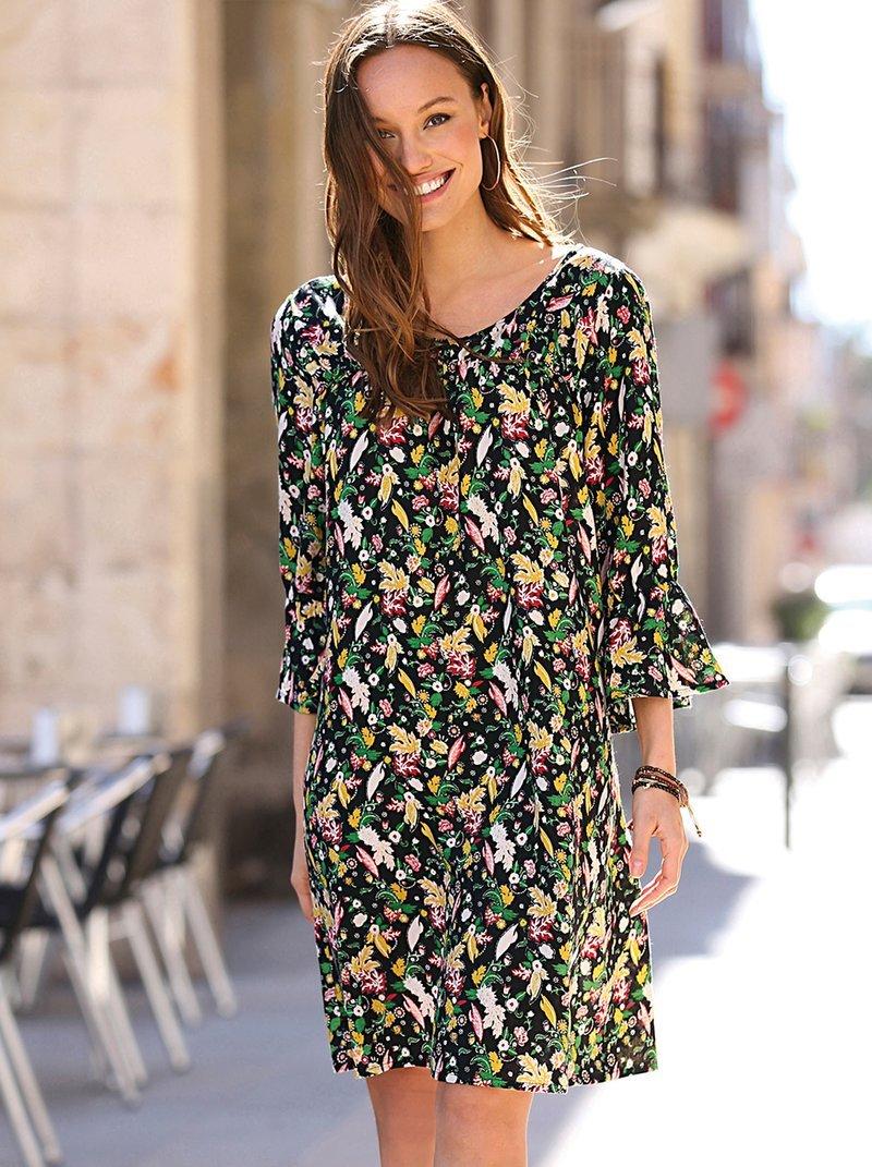 Vestido estampado floral manga 3/4 con volante