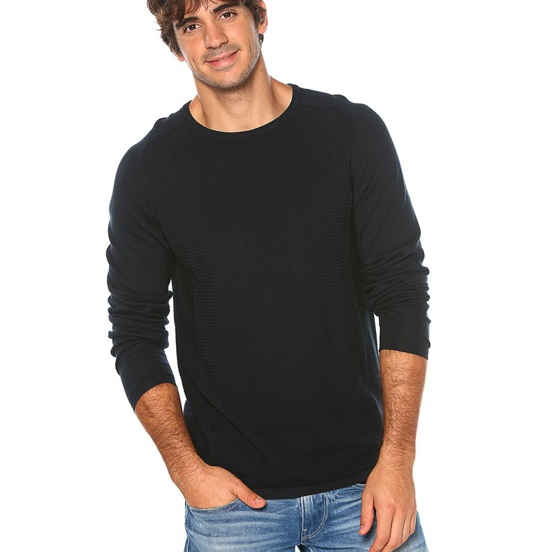 SELECTED - Jersey tricot efecto relieve rayas liso