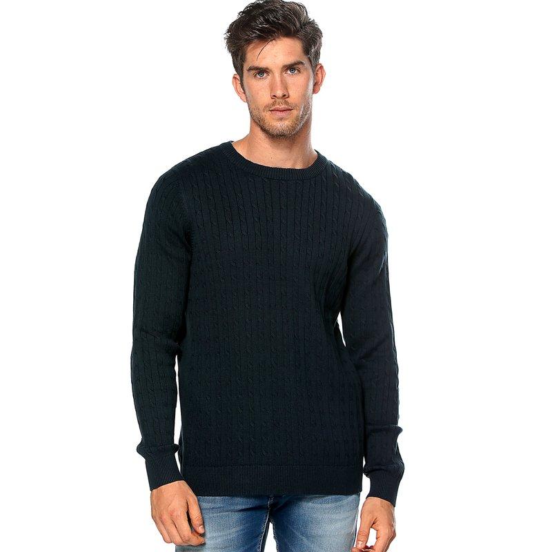 Jersey hombre en punto tricot de trenzas