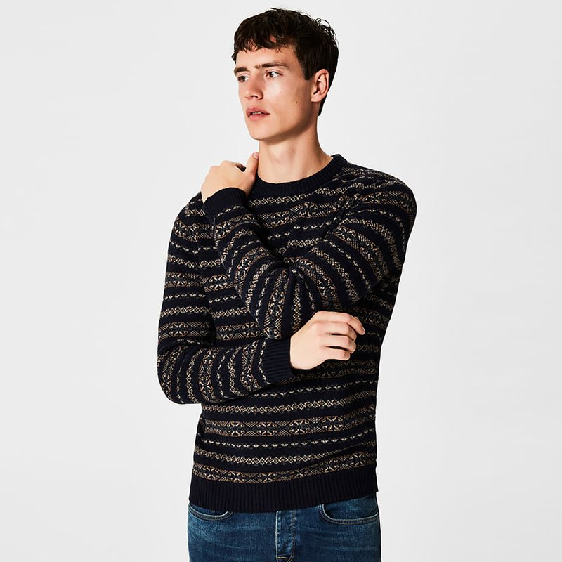 SELECTED - Jersey tricot escote redondo con jacquard