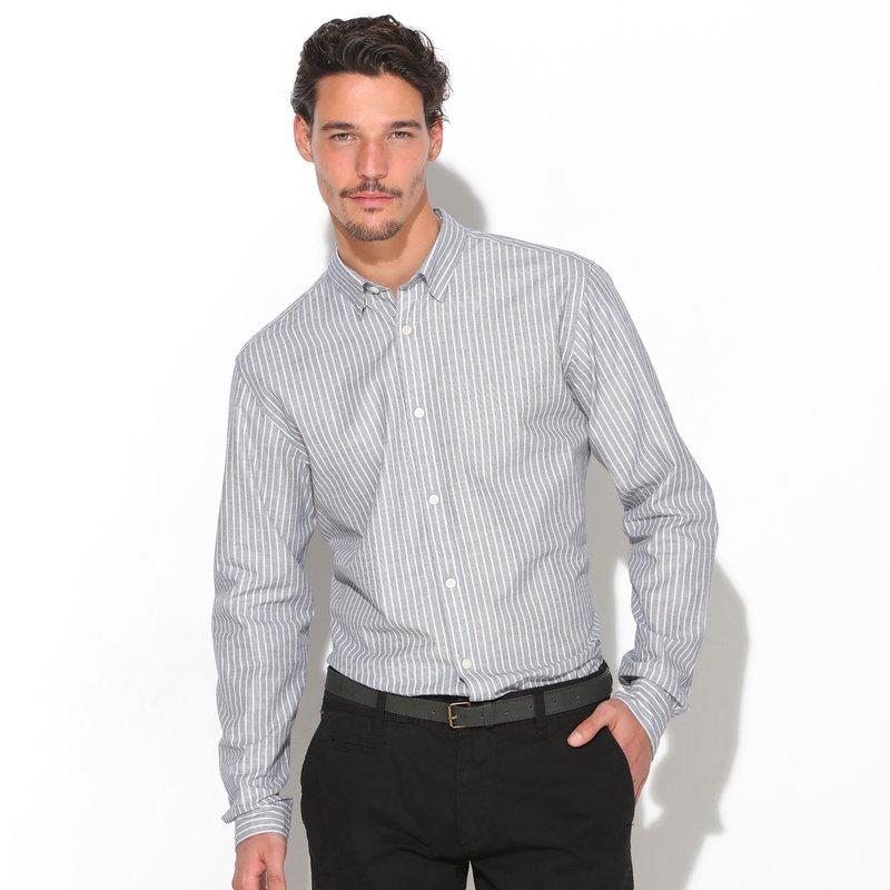 SELECTED - Camisa hombre con presilla y botón bajo