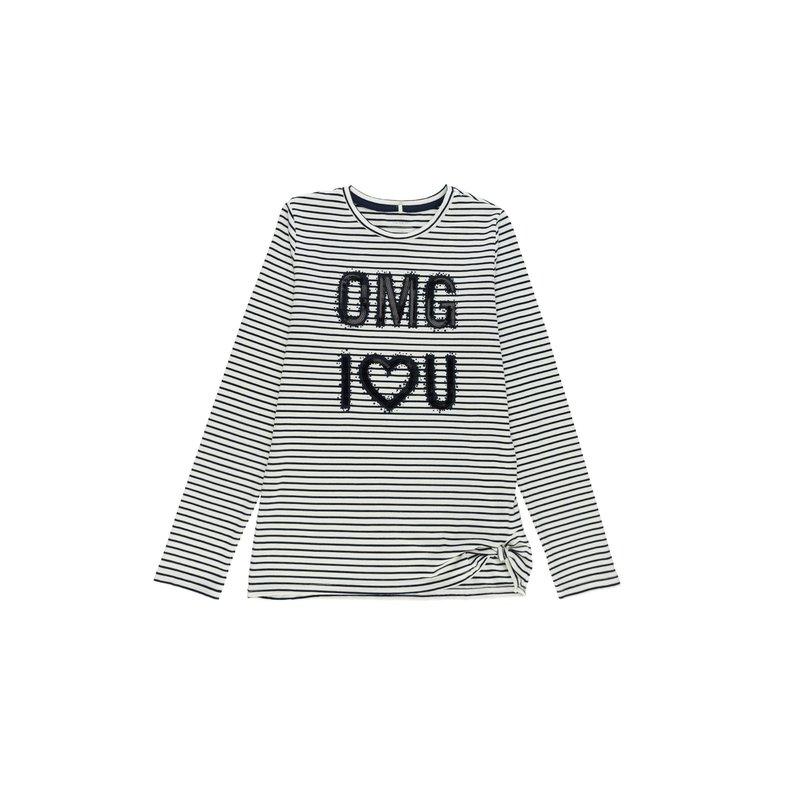 Camiseta  niña rayas lentejuelas bordadas