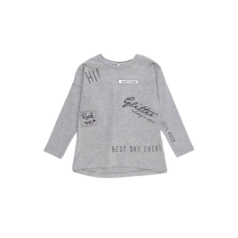Camiseta asimétrica de niña estampada