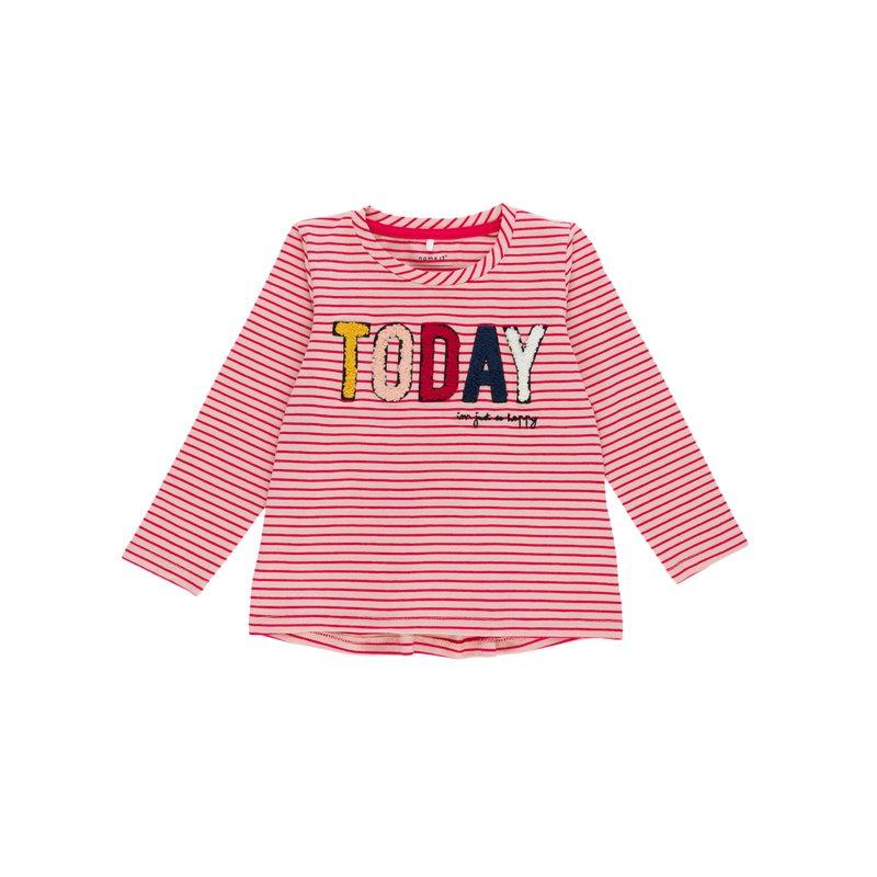 Camiseta niña a rayas con aplicaciones