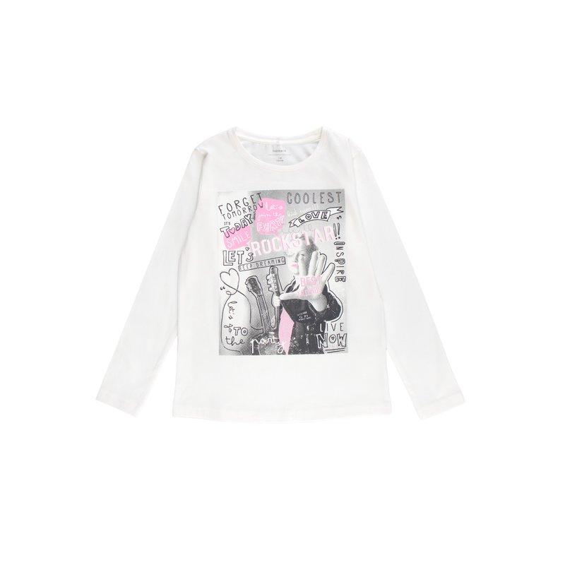 Camiseta niña estampado fotográfico con bordado