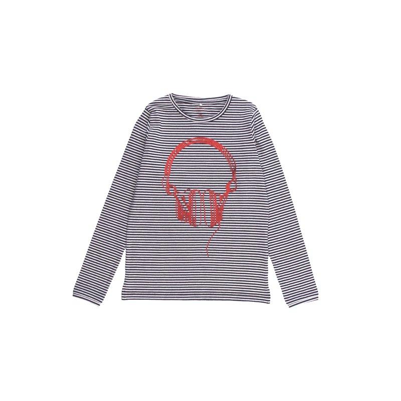 Camiseta niña rayas tejidas con estampado