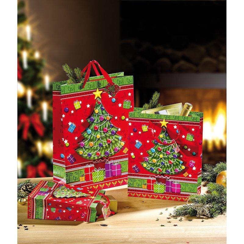 Lote 3 bolsas de regalo Árbol de Navidad en óptica 3D