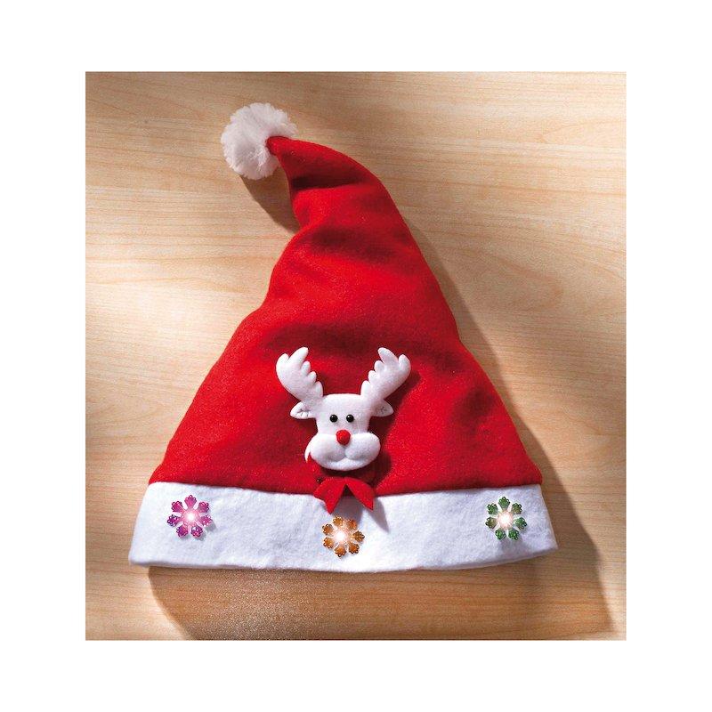 Gorro de Papá Noel con reno Rudolph y luz parpadeante