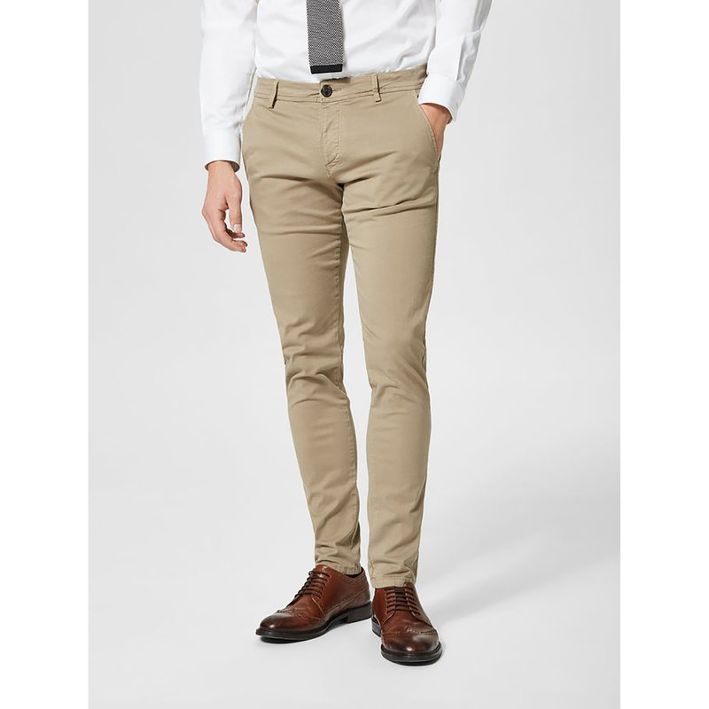SELECTED - Pantalón chino hombre en cómodo twill