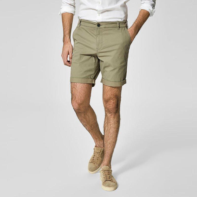 SELECTED - Pantalón bermuda chino tejido gabardina