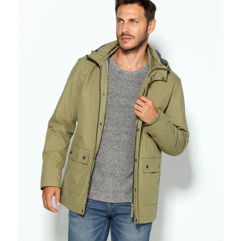 SELECTED - Parka hombre con capucha tejido resinado