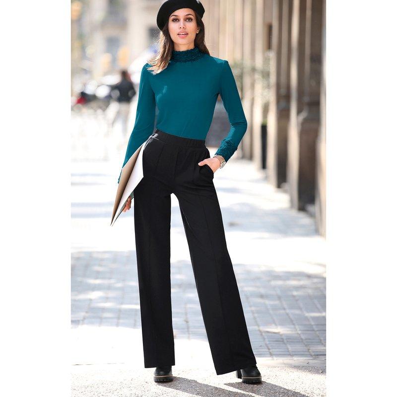Pantalón largo recto y cinturilla elástica palazzo