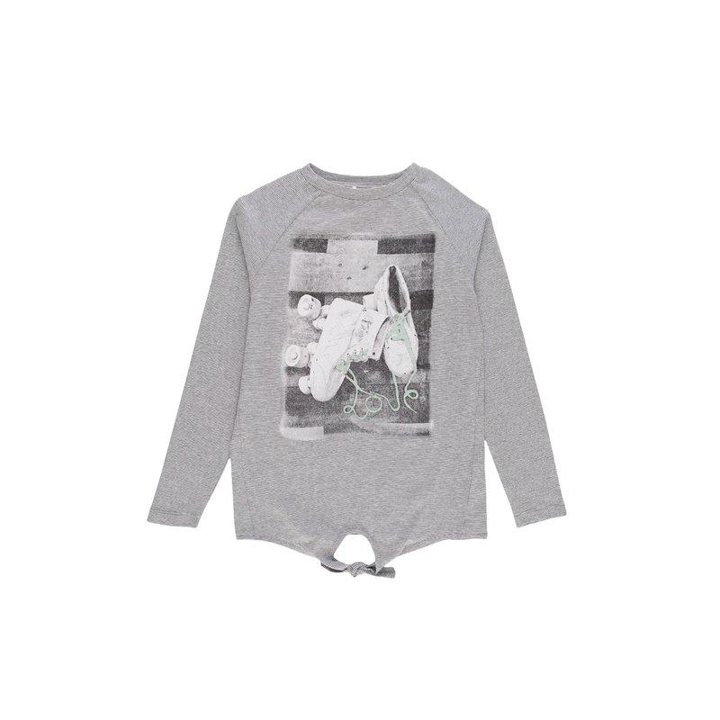 Camiseta para niña rayas tejidas y estampado