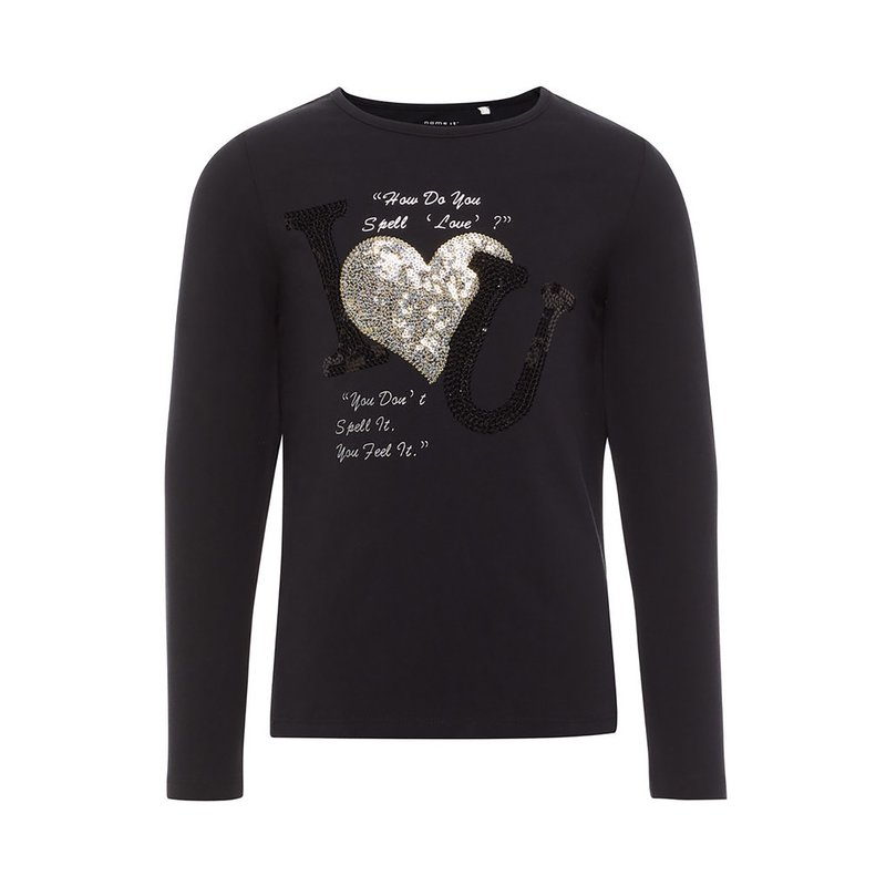 Camiseta niña letras y corazón lentejuelas